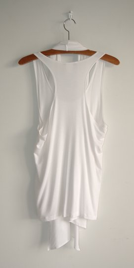 9560cd5c55 on sale Sarah Pacini White Stretch Wrap Drape Top - kdb.co.ke