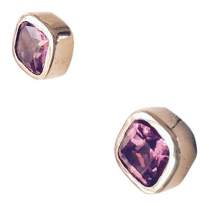 Barmakian Jewelers AUTHENTIC PINK SAPPHIRE AND 14K YELLOW GOLD EARRINGS
