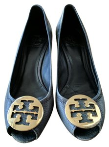 Tory Burch Navy Leather Vintage Navy Blue Wedges
