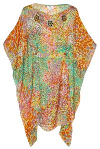MILLY Silk Caftan Embellished Floral Lightweight Dress