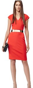 Reiss Tailored Work Night Out Orange Structured Dress