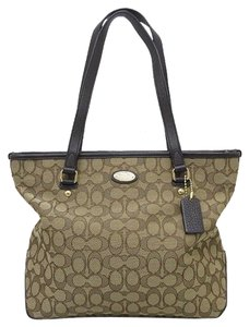Coach Zip Top Tote Khaki Shoulder Bag