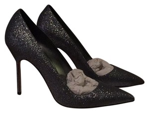 Manolo Blahnik Grey Glitter Pumps