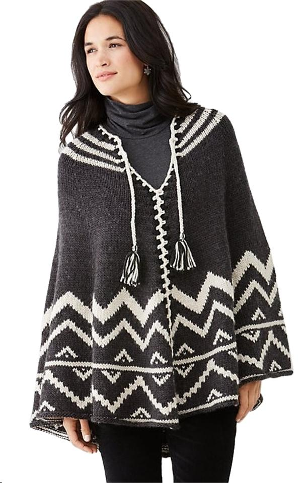 91bf290bc J. Jill Charcoal Multi Sweater Coat Poncho/Cape Size OS (one size ...