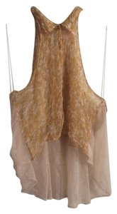 Free People Chiffon Sheer Lace Top Gold