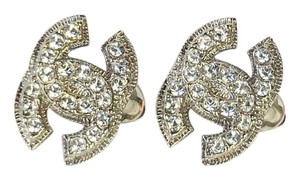 Chanel Chanel Silver CC Rhinestones Clip on Earrings