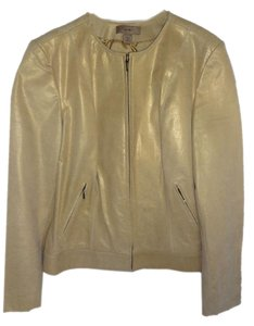 Leather Zip Front gold Leather Jacket