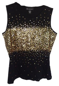 INC International Concepts Gold Sequins Sleeveless Top black