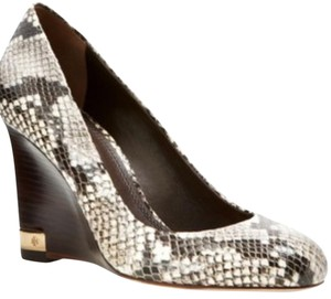 Tory Burch Black/Brown/White/Multi (Snakeskin Pattern) Wedges