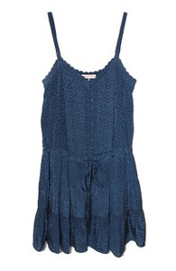 Rebecca Taylor short dress Navy Floral Jacquard Silk V-neck Ruffle on Tradesy