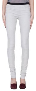 Helmut Lang Leather Suede Fitted Basic White Leggings