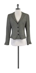 Armani Collezioni Black White Chevron Wool Jacket