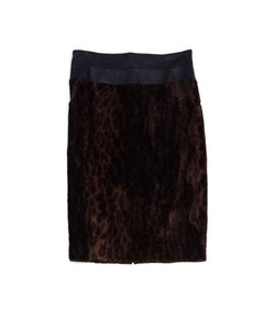 Lafayette 148 New York Leopard Print Leather Skirt