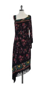 Nicole Miller Floral Fringe Silk Dress