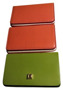 Lodis Lodi's Leather Business Card Holder NWT Kiwi & Tangerine