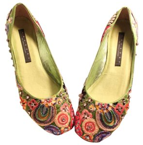 Laundry by Shelli Segal Beaded Green Flats
