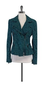 Burberry Teal Lace Moto Jacket