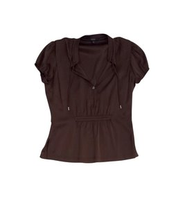 Gucci Brown Silk Short Sleeve Top