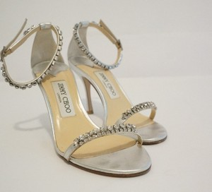 Jimmy Choo Metallic Silver Leather Swarovski Crystal Sandals Wedding Shoes