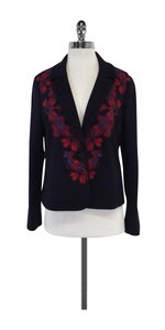 Tory Burch Navy Floral Ebroidery Wool Blend Blazer