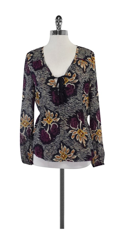 9d5258f22762 Tory Burch Multicolor Floral Print Silk Blouse Size 4 (S) - Tradesy