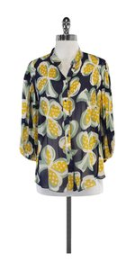 Diane von Furstenberg Multi Color Print Silk Top