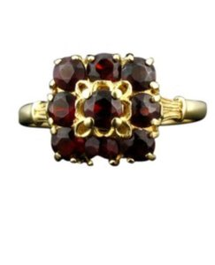 Other Size 6.5, 14k yellow gold, 1.00ctw red garnet, Cluster Ring