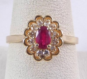 Size 9.25, 14k yellow gold, red ruby, diamond, Halo Ring