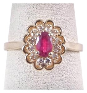 Other Size 9.25, 14k yellow gold, red ruby, diamond, Halo Ring