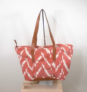 Lucky Brand Braided Leather Canvas Boho Tote