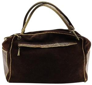 Plinio Visona Vintage Animal Print Crocodile Suede Casual Satchel in Brown