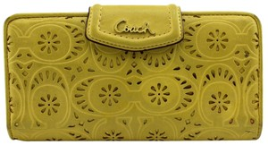 Coach Yellow Leather Wallets Perforated Floral Purse