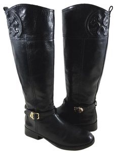 Tory Burch Golden Hardware Tonal Top Stitching Embossed Logo Full Side Zip Leather Black Boots