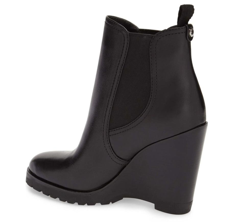 ddcd00d6a98 Michael Kors Black Thea Wedge Leather Boots Booties Size US 9 ...