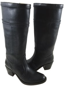 Frye Pull-on Design Grain Leather Black Boots