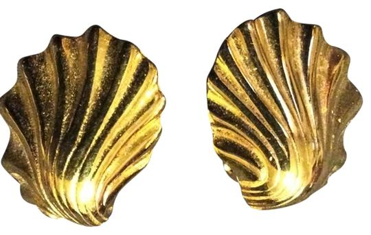 Givenchy Givenchy Polished Goldtone Shell Clip Earrings