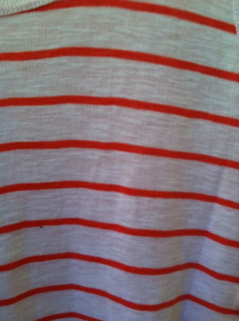 French Connection Top White Orange Stripe