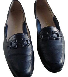 Salvatore Ferragamo Leather Navy blue Flats