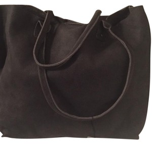 Eileen Fisher Italian Nubuck Snap Closure Tote in Washed Black