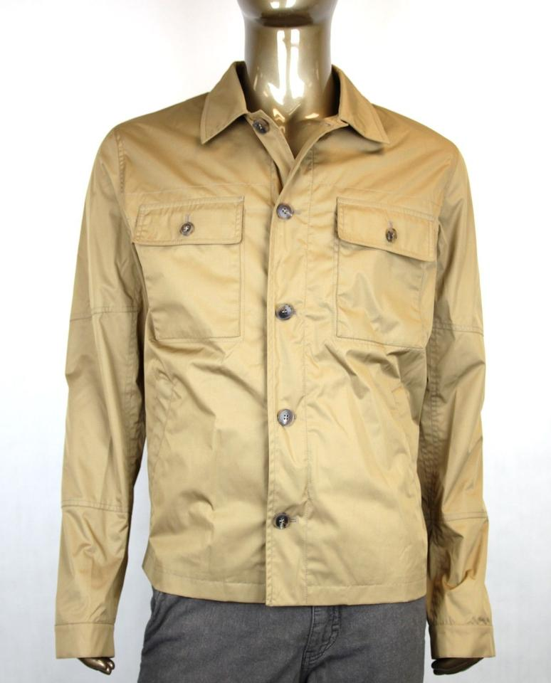 Gucci Brown New Men S Techno Poplin Safari Jacket Eu 54 Us 44
