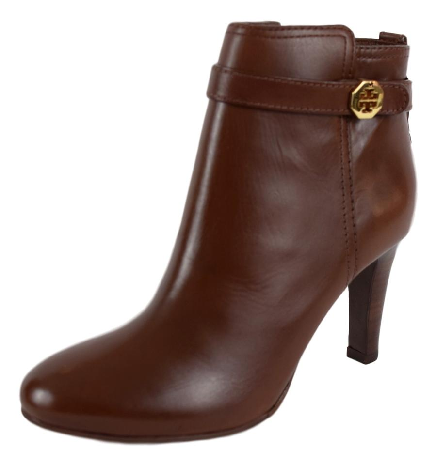 d6c593c631b Tory Burch Brown Brita Almond Leather Ankle Boots Booties Size US ...