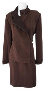 St. John St. John Classic Brown Knit 3 Piece Suit Jacket/Skirt/Pant Size 12/10