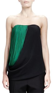 Stella McCartney Fringe Strapless Sweetheart Asymmetrical Hem Bustier Top Black/Green