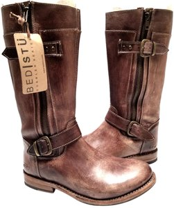 Bed|Stü Rustic Double-buckle Teak Driftwood Leather Boots