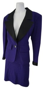 Saint Laurent YSL Yves Saint Laurent Elegant Tuxedo Purple Skirt Suit Size 40