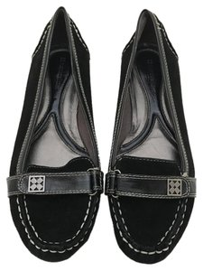 Naturalizer Suede Loafers Light Thread Black Flats