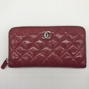Chanel Patent Leather Quilted Pink Zip Around Long Wallet Clutch