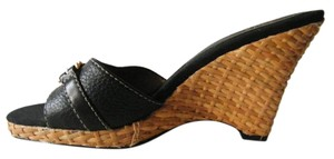 Circa Joan & David Espadrille Leather Black/Espadrille Wedges