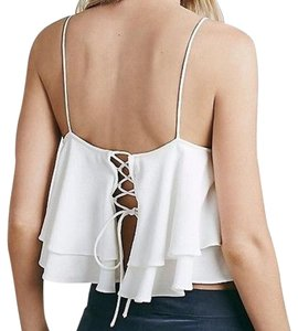 Free People Bohemian Swing Lace Up Back Cutout Festival Top Cream