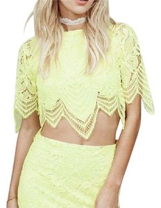 For Love & Lemons Neon Vibrant Scalloped Lace Mesh Bohemian Festival Crop Elastic Banded Top Yellow